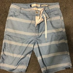 Men's blue stripe swim trunks boardshorts